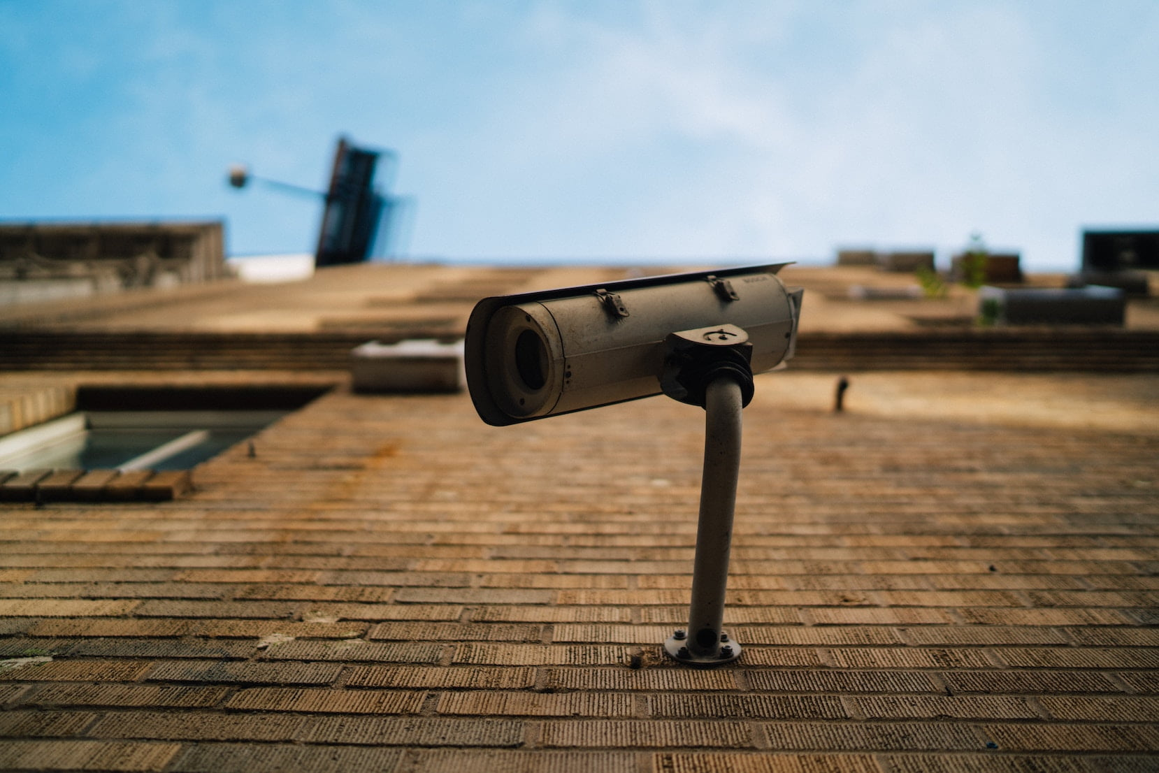 Security camera on a wall