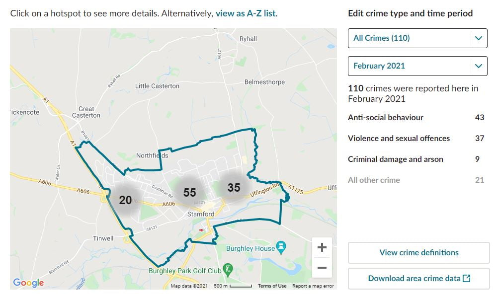Stamford, Lincolnshire. CCTV Installation Crime Map. Home Security Systems