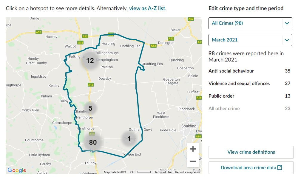 Bourne, Lincolnshire. CCTV Installation Crime Map. Home Security Systems