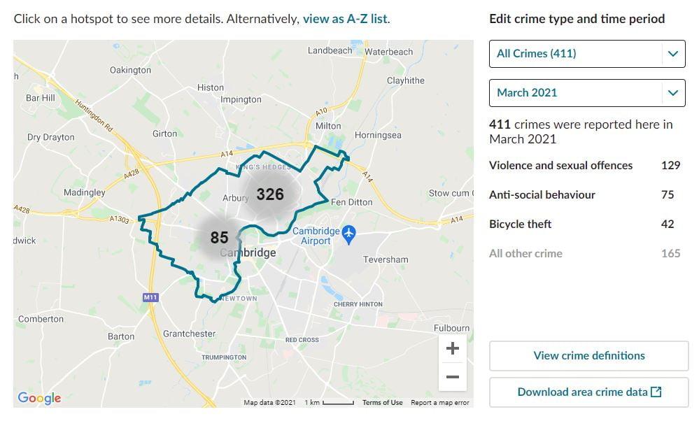 Cambridge, Cambridgeshire. CCTV Installation Crime Map. Home Security Systems
