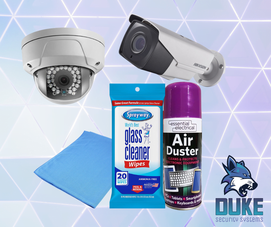 Air duster, glass cleaner and microfibre cloth Duke Security Systems