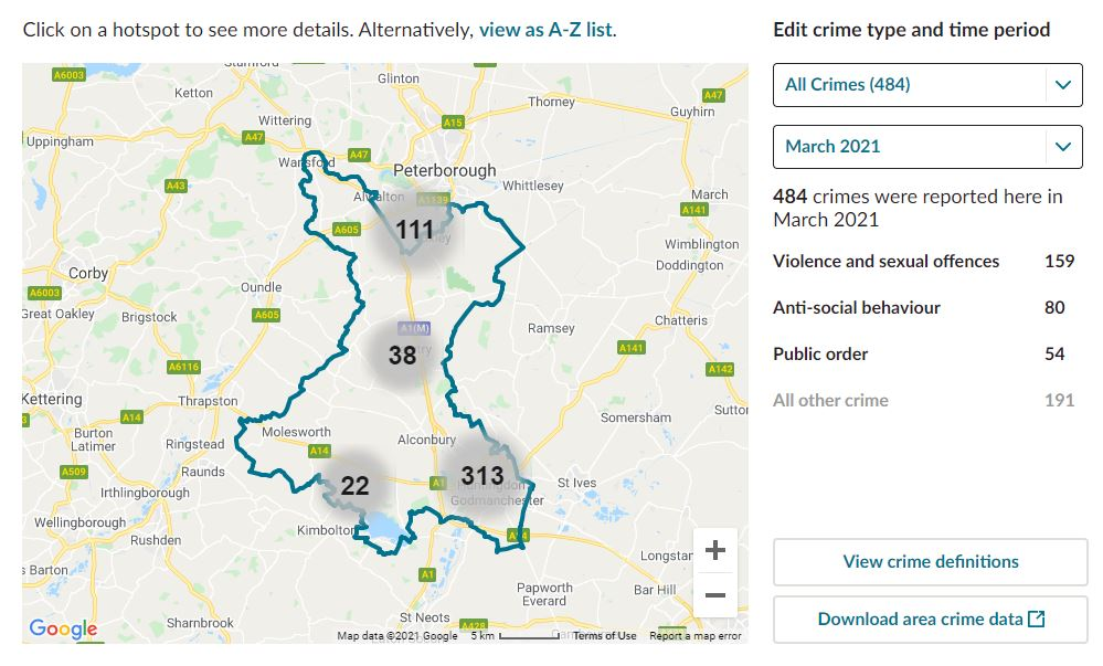 Huntingdon. CCTV Installation Crime Map. Home Security Systems