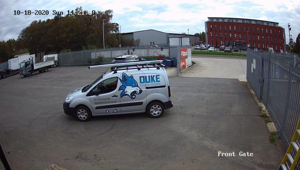 Duke Security van in Bourne as seen through a CCTV Camera. CCTV Installation in