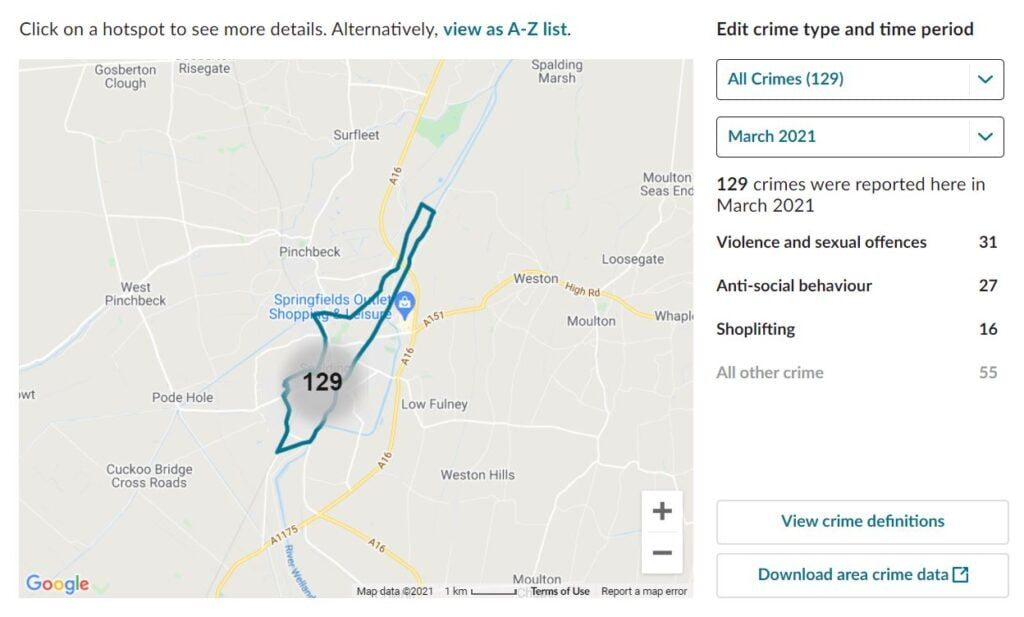 Spalding, Lincolnshire. CCTV Installation Crime Map. Home Security Systems